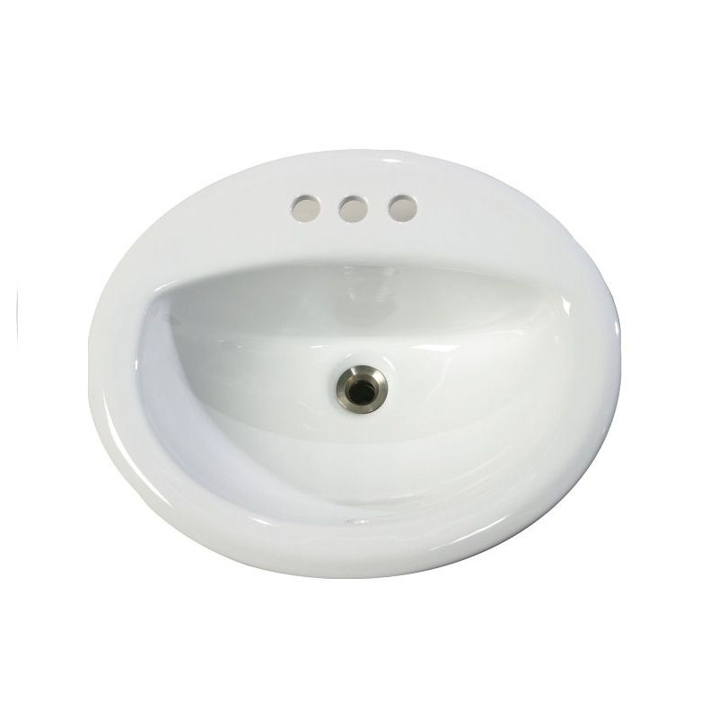 Top Mount/Drop-In Porcelain Vanity Sink (Three hole)