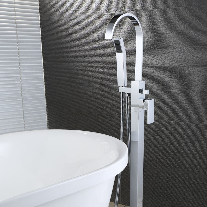 Free Standing Bathroom Tub Faucet Floor Mount Tub Filler Hand Shower Mixer Tap