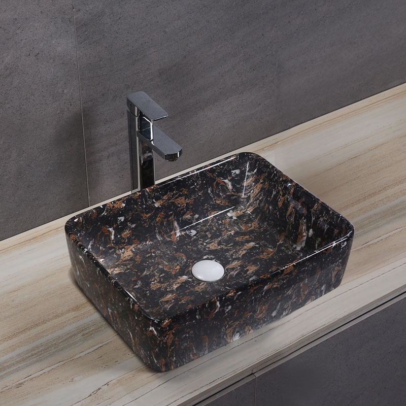Porcelain Art Basin: Black Marble Pattern-1