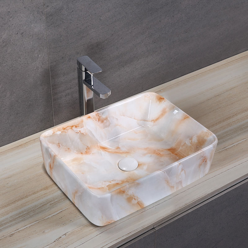 Porcelain Art Basin: Orange Marble Pattern-2