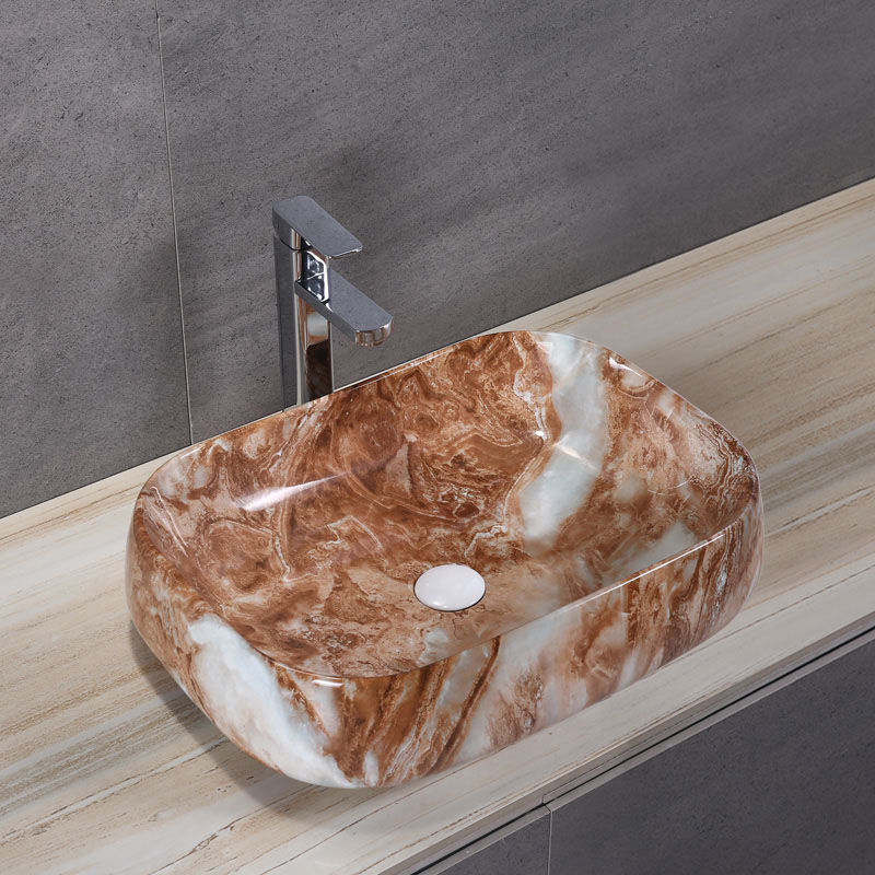 Porcelain Art Basin: Rust Marble Pattern