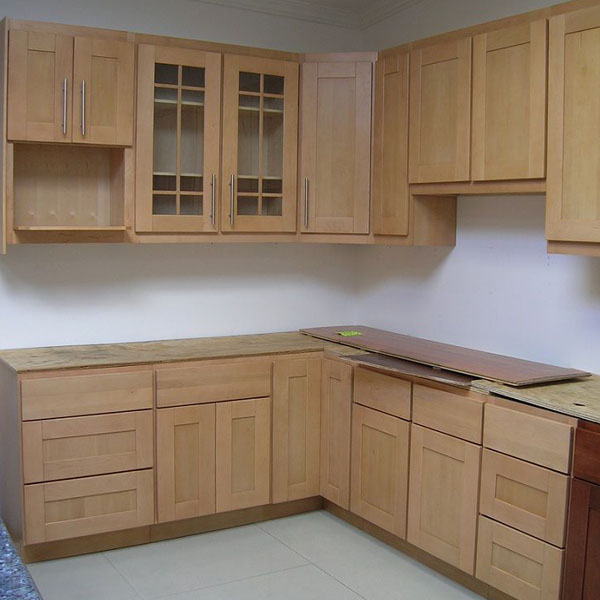 American Maple Natural Finished Cabinets Shaker Panel