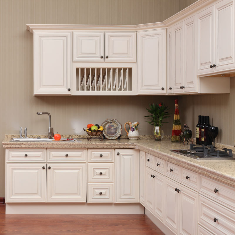 Best Antique White Paint Kitchen Cabinets: White Antique Raised Panel Kitchen Cabinet