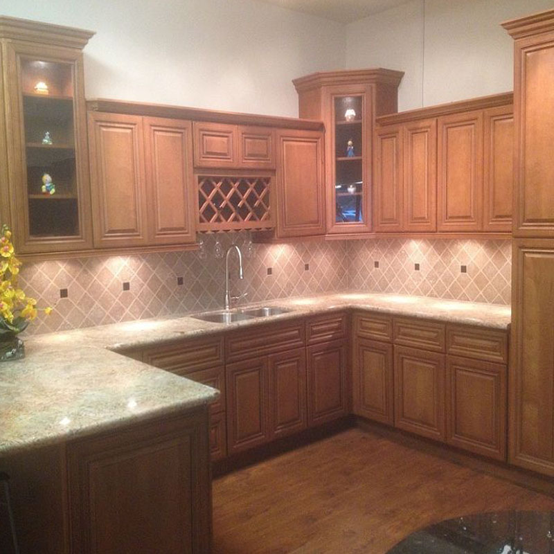 Toffee Glazed Maple Solid Wood Cabinet Apex Granite Outlet Quartz Granite Countertops Kitchen Cabinets Supplier