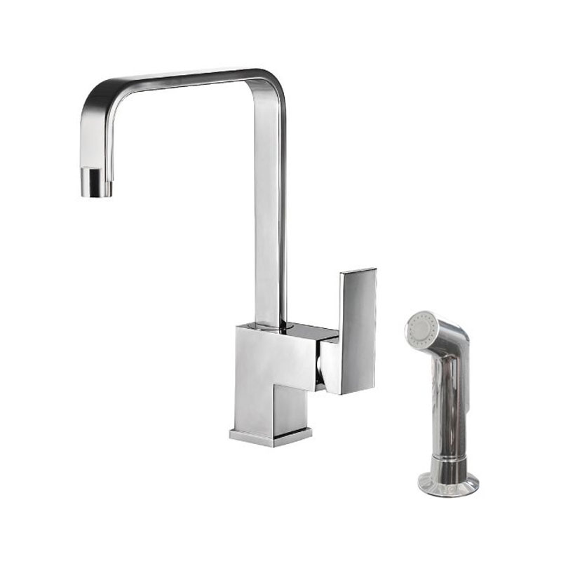 Single Lever Square Kitchen Faucet with Side Sprayer Head
