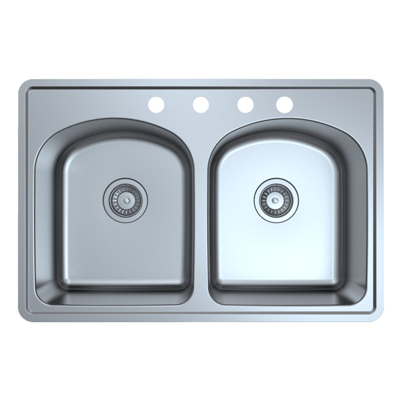 Topmount Double Bowl Stainless Steel Kitchen Sink