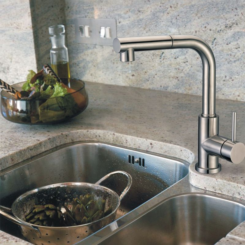 Solid Stainless Steel Kitchen Faucet with Solid Metal Pull-Out Sprayer Head